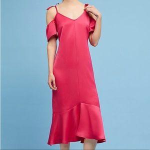 NWT Anthropologie Satin Open-Shoulder Dress